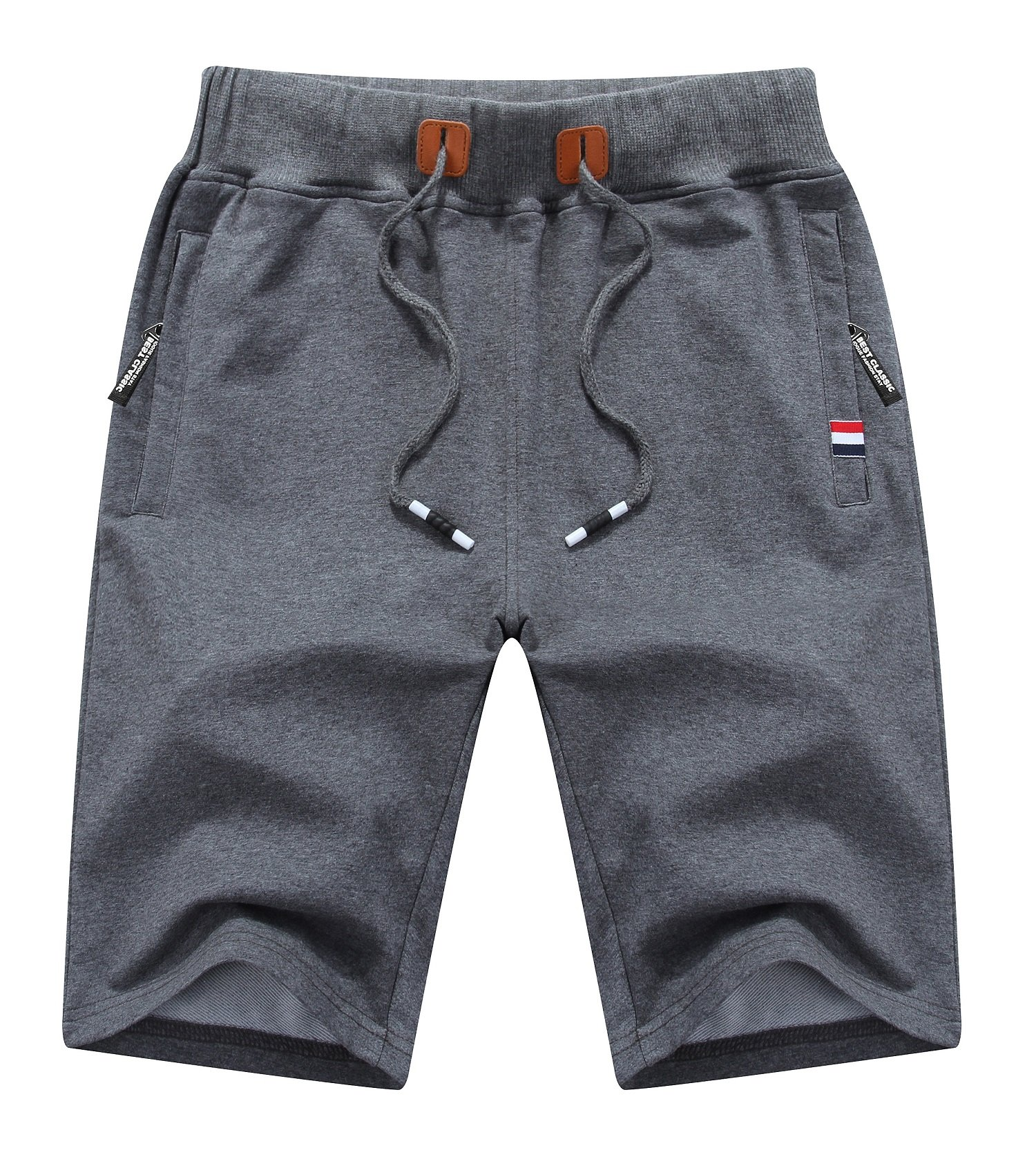 Higood Mens Casual Shorts 2018 Zipper Pockets and Slim-Fit Shorts (D-Gray, US (34-35))