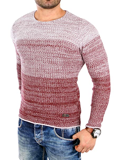 8bbea914a169 Reslad Strickpullover Herren Color-Block Winter Pullover RS-3106