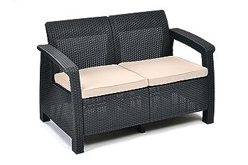 Keter Corfu 2 Seater Rattan Sofa Outdoor Garden Furniture   Graphite With  Cream Cushions
