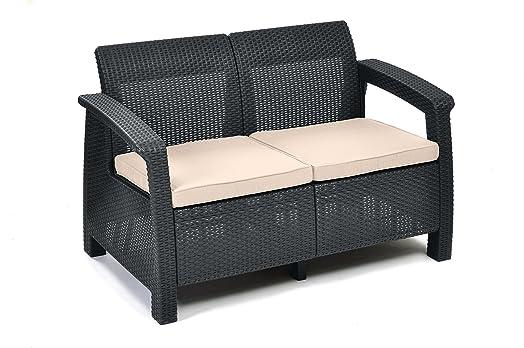Rattan sofa outdoor  Keter Corfu 2 Seater Rattan Sofa Outdoor Garden Furniture ...