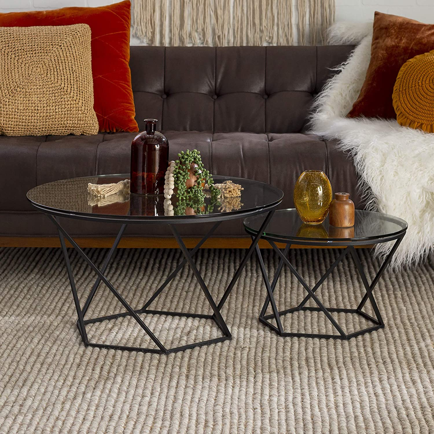 Walker Edison Furniture Modern Round Nesting Coffee Accent Table Living Room, Black