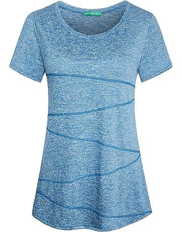 54b3a7b646e4 Kimmery Women s Short Sleeve Yoga Tops Activewear Running Workout T-Shirt