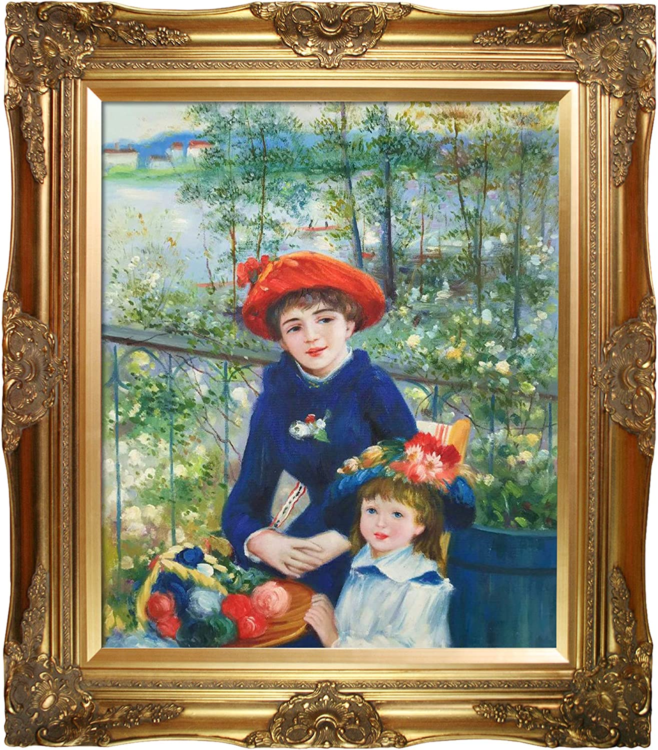 overstockArt Two Sisters (On The Terrace), 1881 with Victorian Gold Framed Oil Painting, 32
