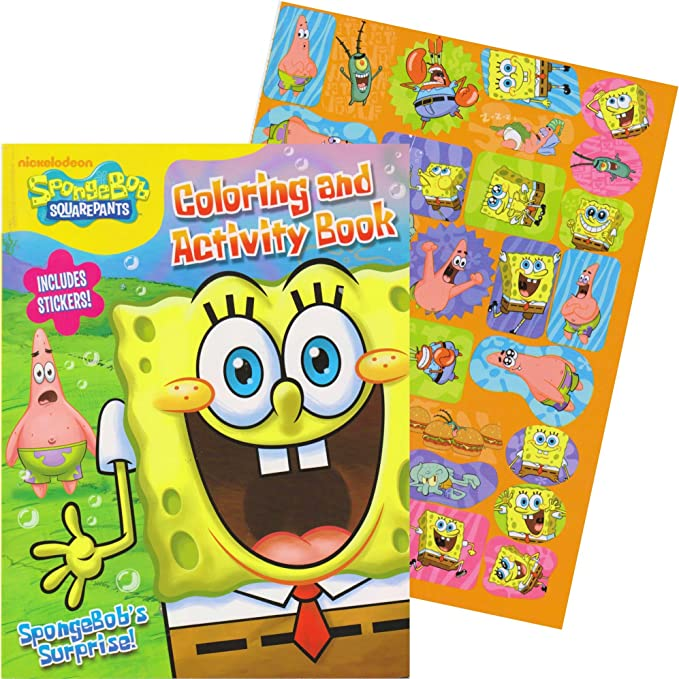 - Amazon.com: SpongeBob Giant Coloring Book With Stickers (SpongeBob Party  Supplies): Toys & Games