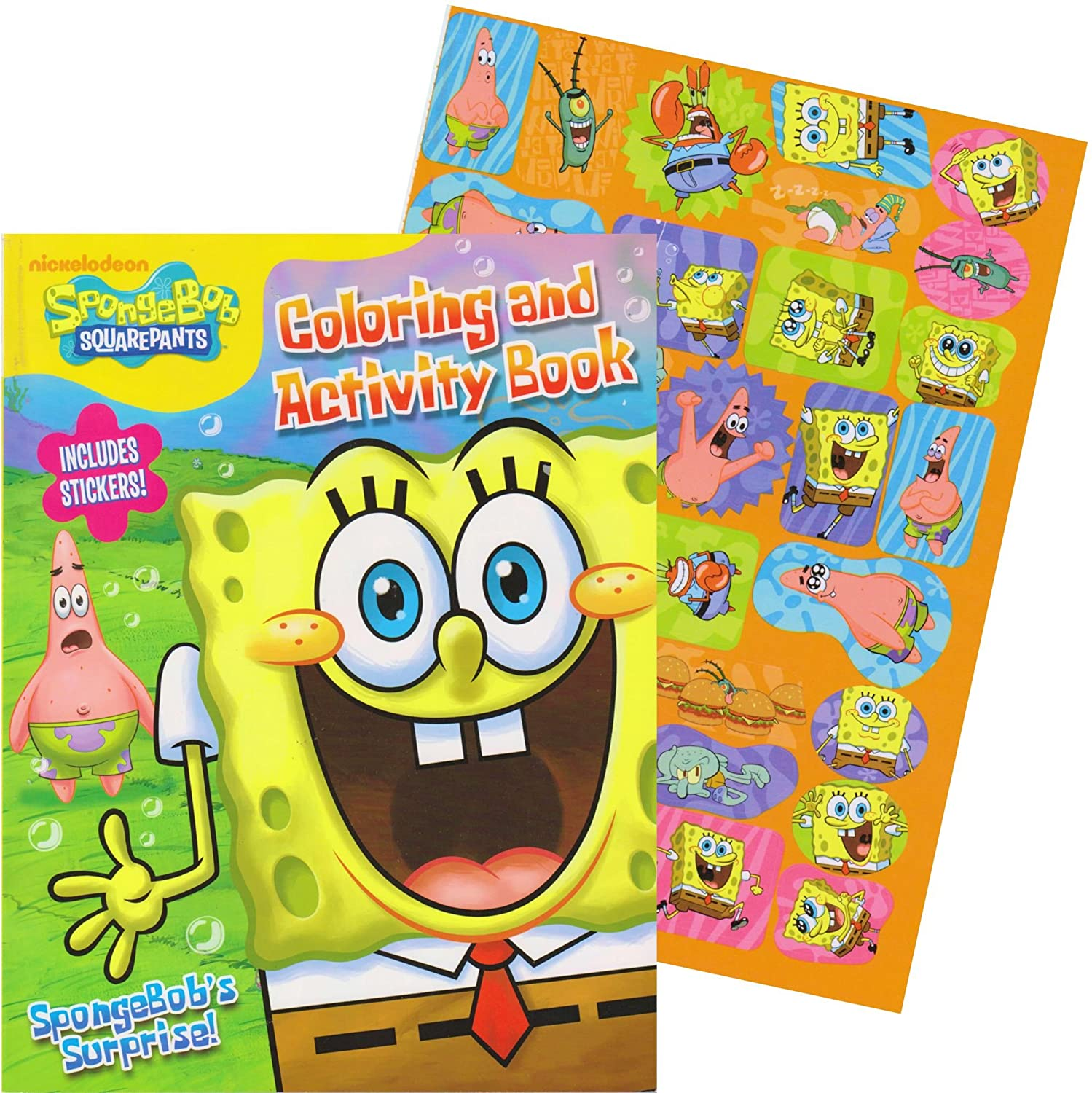 Amazon.com: SpongeBob Giant Coloring Book with Stickers (SpongeBob ...