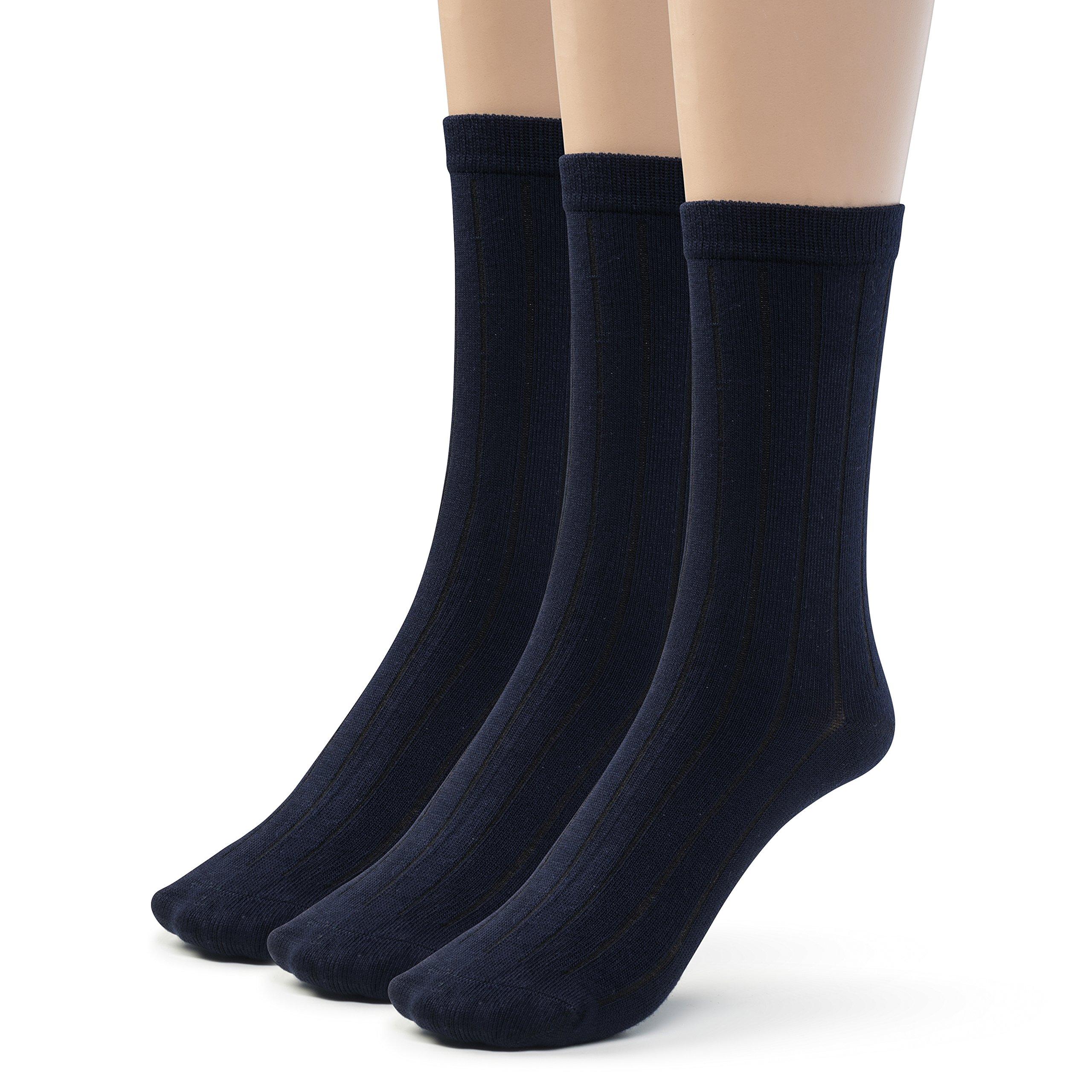 Silky Toes Bamboo Cotton Ribbed Crew Boys School Uniform Socks (Small (7-8), Dark Navy)