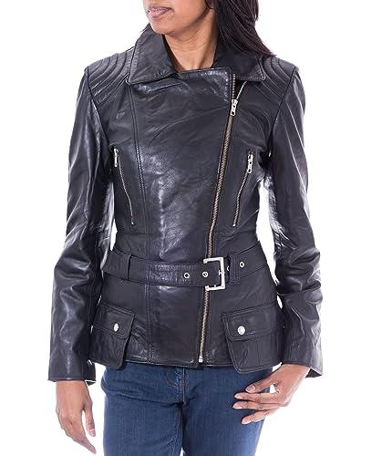 Negro de la chaqueta de piel de cordero largo del motorista de la mujer. cremallera lateral. Estilo ...