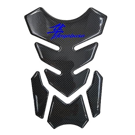 "Real Carbon Fiber Customizable Gas Tank Pad+6/"" 3D Logo+GSXR Emblem Sticker Black"