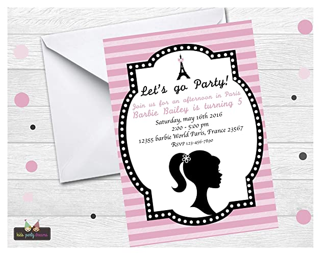 amazon com glamours girl birthday party invitation customized set