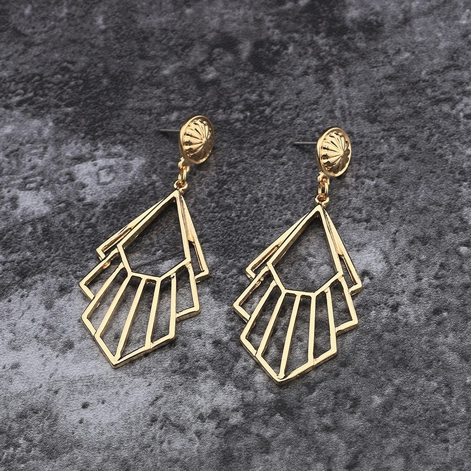Bishilin Earrings for Women Gold Plated Hollow Geometry Wedding Party Earrings Gold