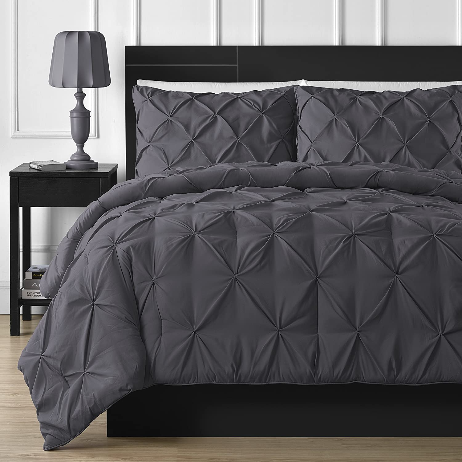 Comfy Bedding 3-Piece Pinch Pleat Comforter Set All Season Pintuck Style Double Needle Durable Stitching, King Gray