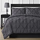Double-needle Durable Stitching Comfy Bedding 3-piece Pinch Pleat Comforter Set (Queen, Gray)