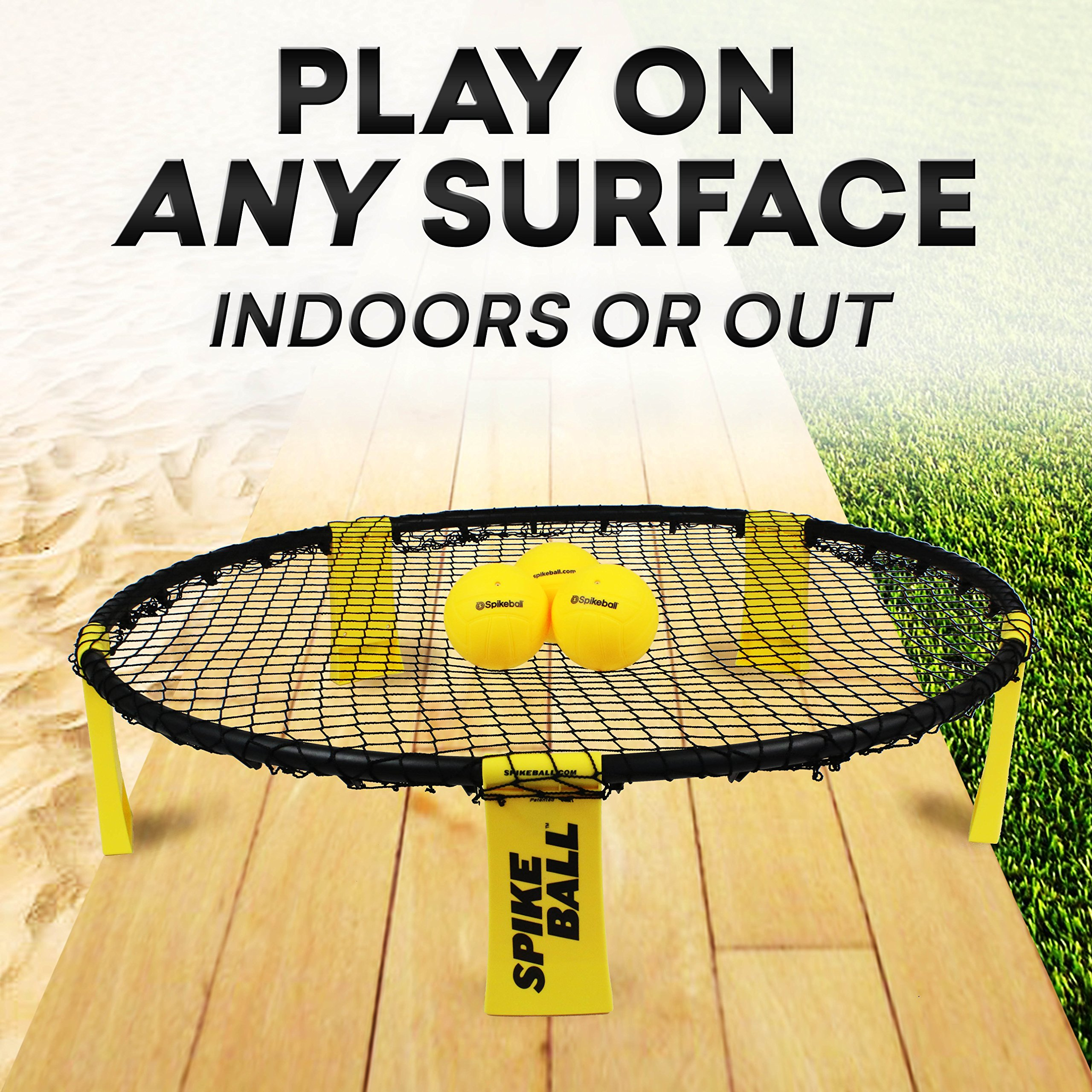 Spikeball 3 Ball Sports Game Set - Outdoor Indoor Gift for Teens, Family - Yard, Lawn, Beach, Tailgate - Includes Playing Net, 3 Balls, Drawstring Bag, Rule Book- As Seen on Shark Tank (3 Ball Set) by Spikeball (Image #3)
