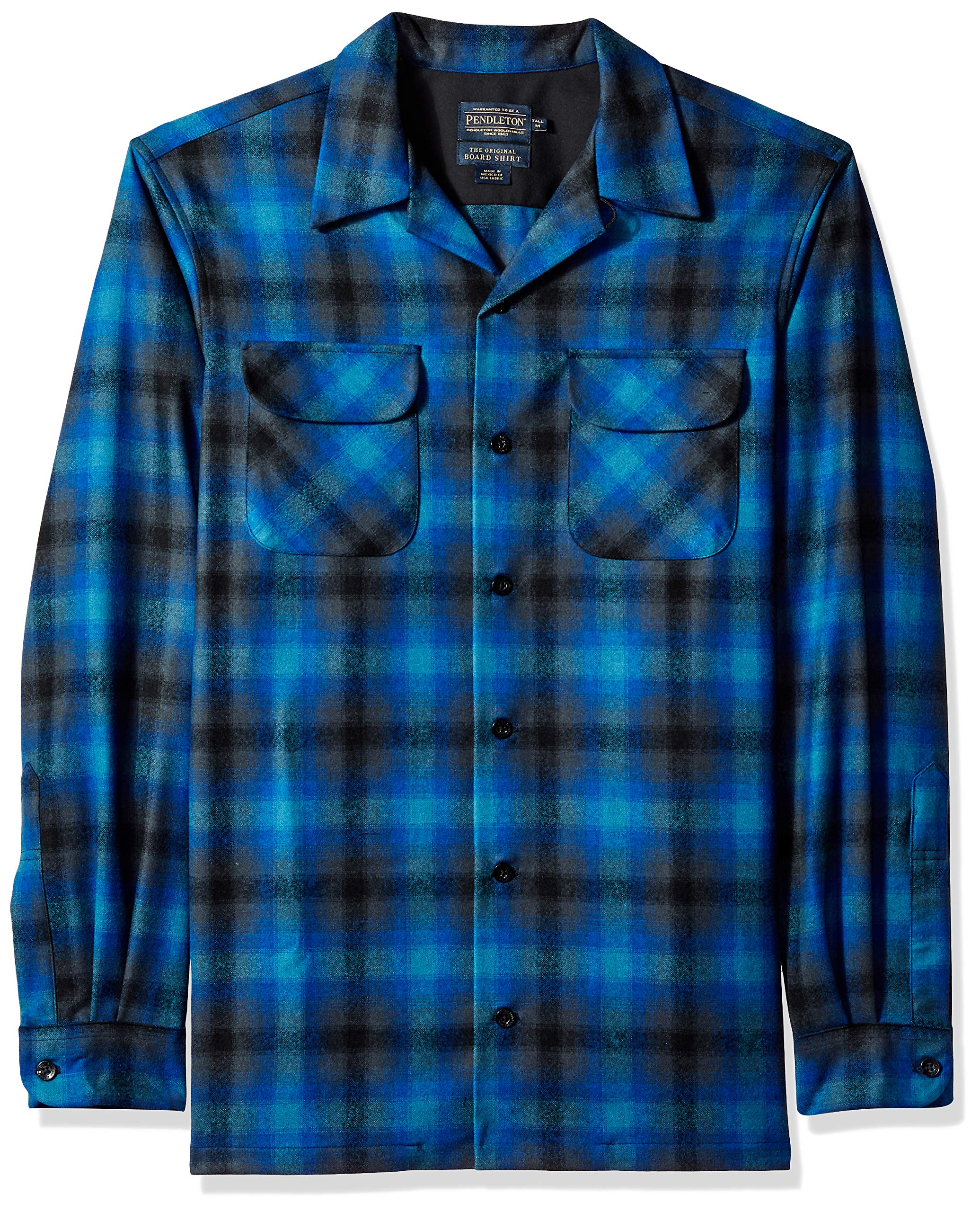 Pendleton Men's Size Big & Tall Long Sleeve Board Shirt, Black/Turquoise Ombre, XL-TALL