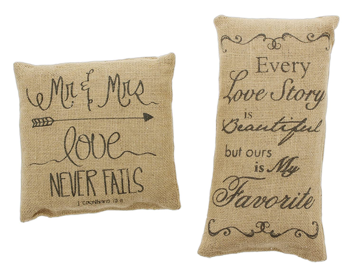 Country House Bundle of 2 Mini Burlap Accent Pillows 'Mr. & Mrs.' & 'Every Love Story' Country House Collection