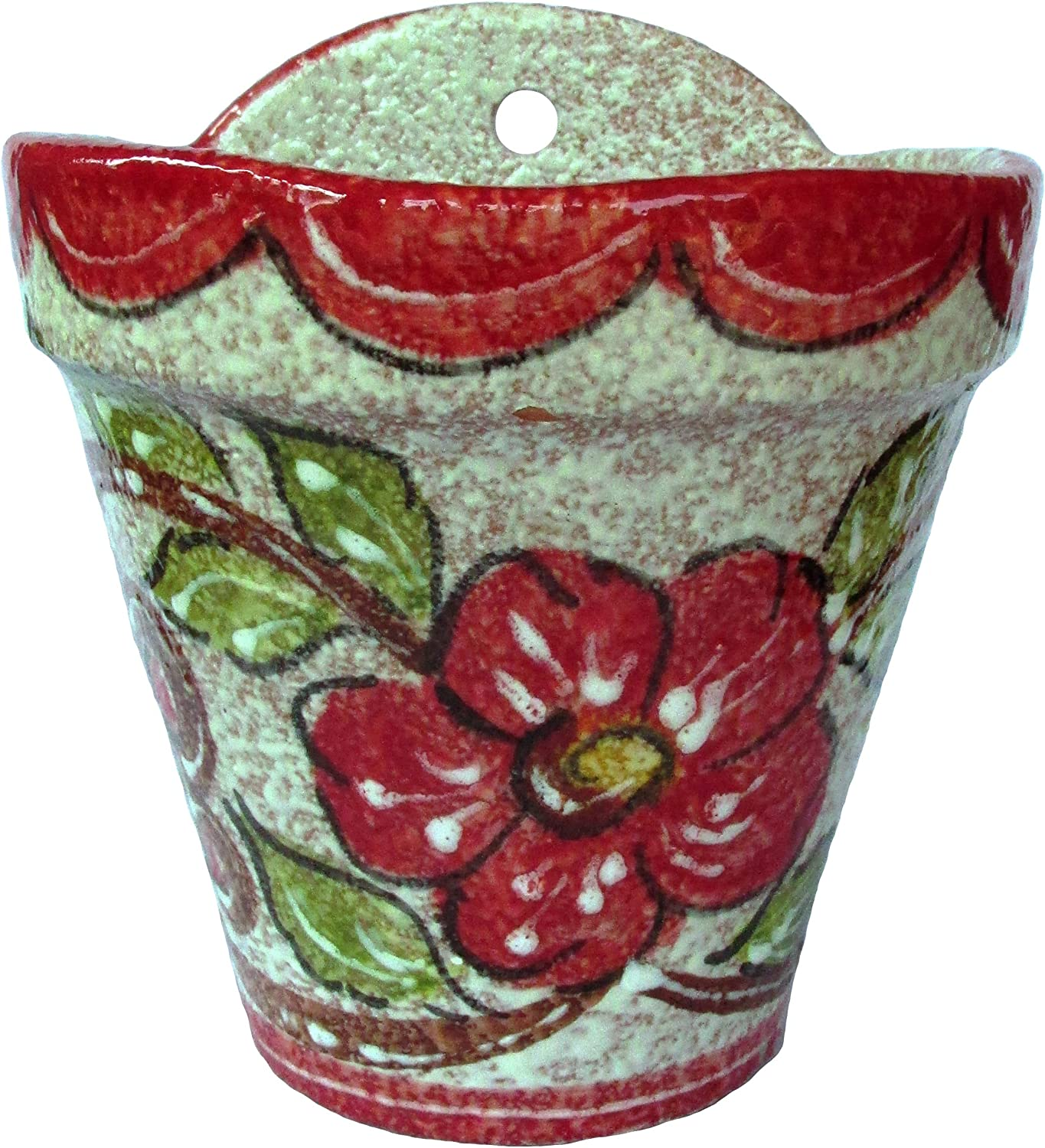 Cactus Canyon Ceramics Spanish Hand-Painted Wall Flower Pot, Red Design