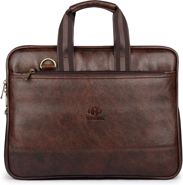 MESIDA Leather Briefcase for Men Leather Laptop Bag Shoulder Messenger Bag Business Work Bag Brown