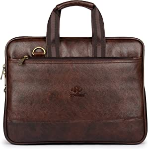Vegan Leather Briefcase for Men Computer Bag Expandable Laptop Bag Retro Business Travel Messenger Bag for 14 Inch Laptop Size Brown