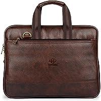 The Clownfish Vegan Leather 8 Ltr Dark Brown Laptop Briefcase (40 x 30 x 7 CM)