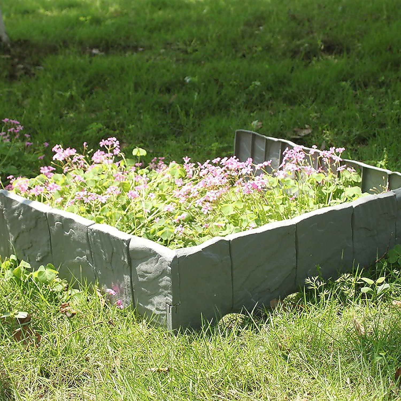 MultiWare 10pcs Bordure Pour Jardin All/ée Chemin Barri/ère Palissade Cl/ôture Plastique Pierre