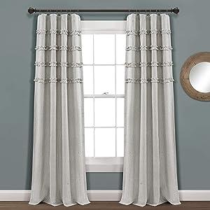 "Lush Decor, Gray Vintage Stripe Yarn Dyed Cotton Window Curtain Panel Pair, 84"" x 40"""