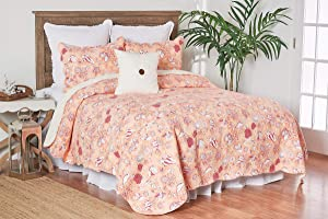 C&F Home Lagoon Peach Tropical Beach Coastal Shell Star Fish King 3 Piece Cotton Cover Machine Washable Reversible Quilt Set King 3 Piece Set Pink