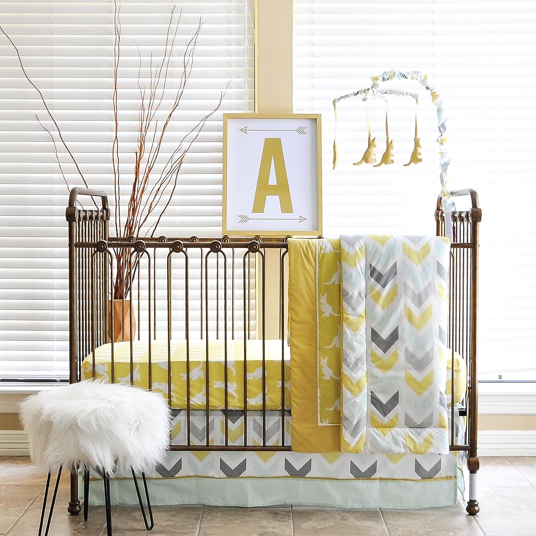 Pam Grace Creations 6 Piece Standard Crib Bedding Set, Grey/Indie Elephant BDNB-ELEPHANT