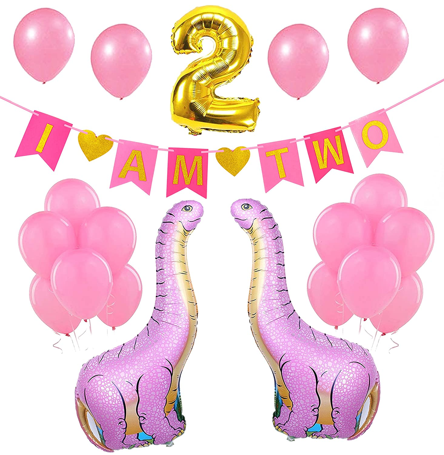 Baby Girl 2nd Second Birthday Decoration I AM TWO Gold And Pink BannerDinosaur Foil BalloonsLatex BalloonsSupplies Favors For 2 Year Old