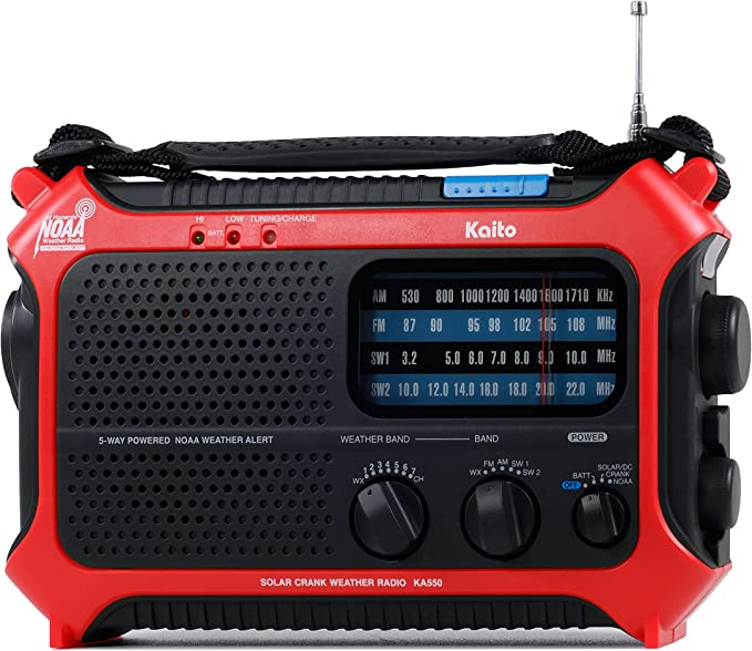 Kaito KA550 Portable Solar Hand Crank AM FM Shortwave /& NOAA Weather Radio