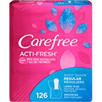 126-Count Carefree Acti-Fresh Body Shape Ultra-Thin Panty Liners, Regular To Go, Unscented
