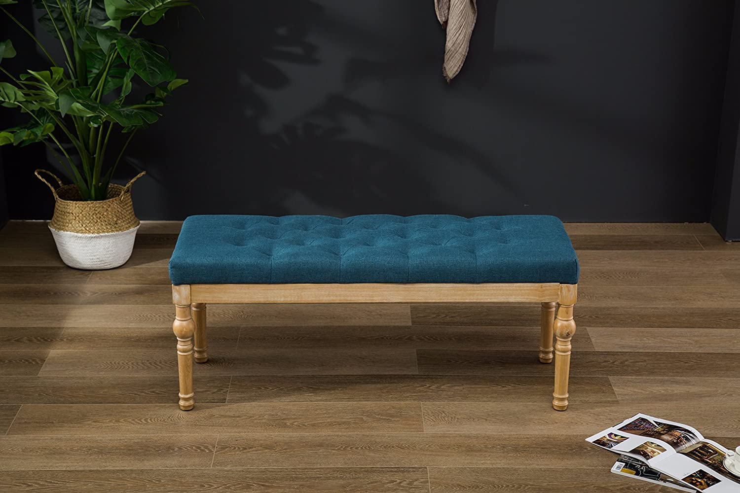 Roundhill Furniture Habit Solid Wood Button Tufted Dining Bench, Blue