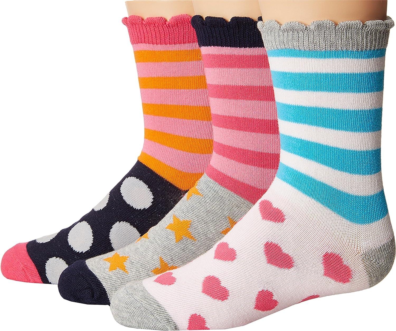 Jefferies Socks Baby Girls Stripes//Dots//Hearts//Stars Crew Socks 3-Pair Pack Toddler//Little Kid//Big Kid