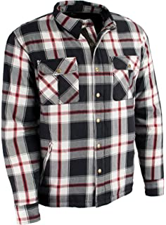 Milwaukee Performance Mens Flannel Biker Jacket With Aramid Black/White/Red XL