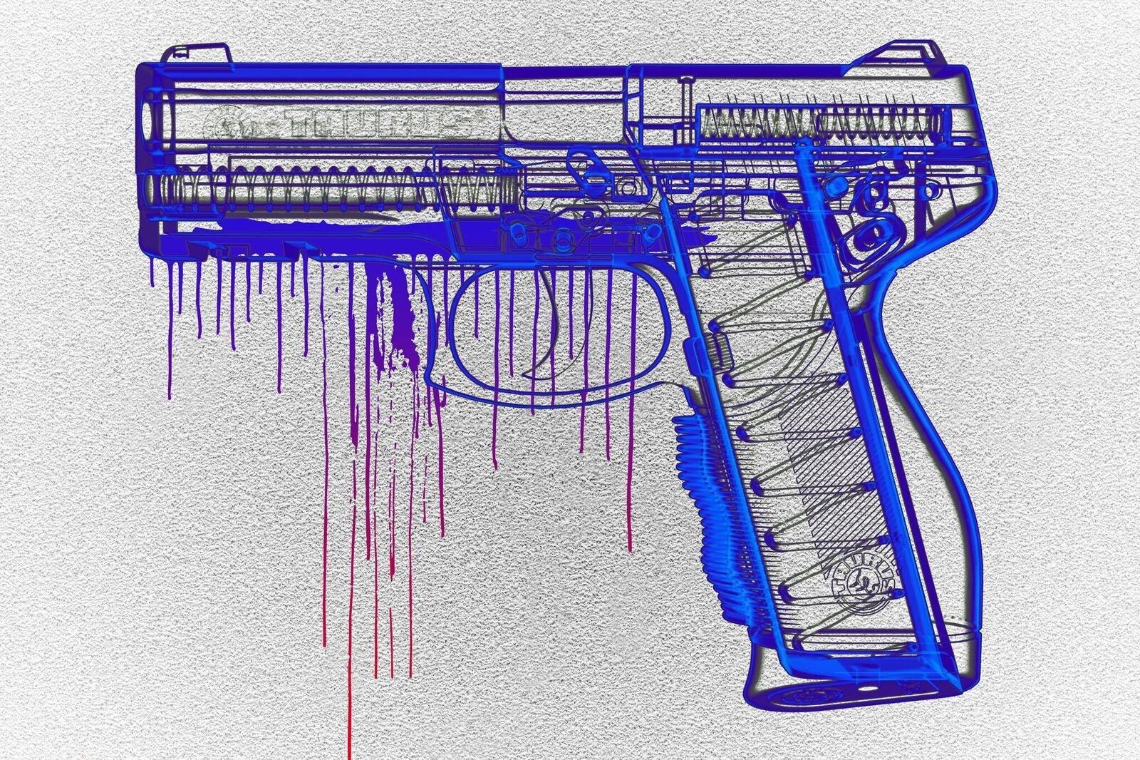 Salty & Sweet Kids with Guns Artwork, 48'' x 72'', Canvas