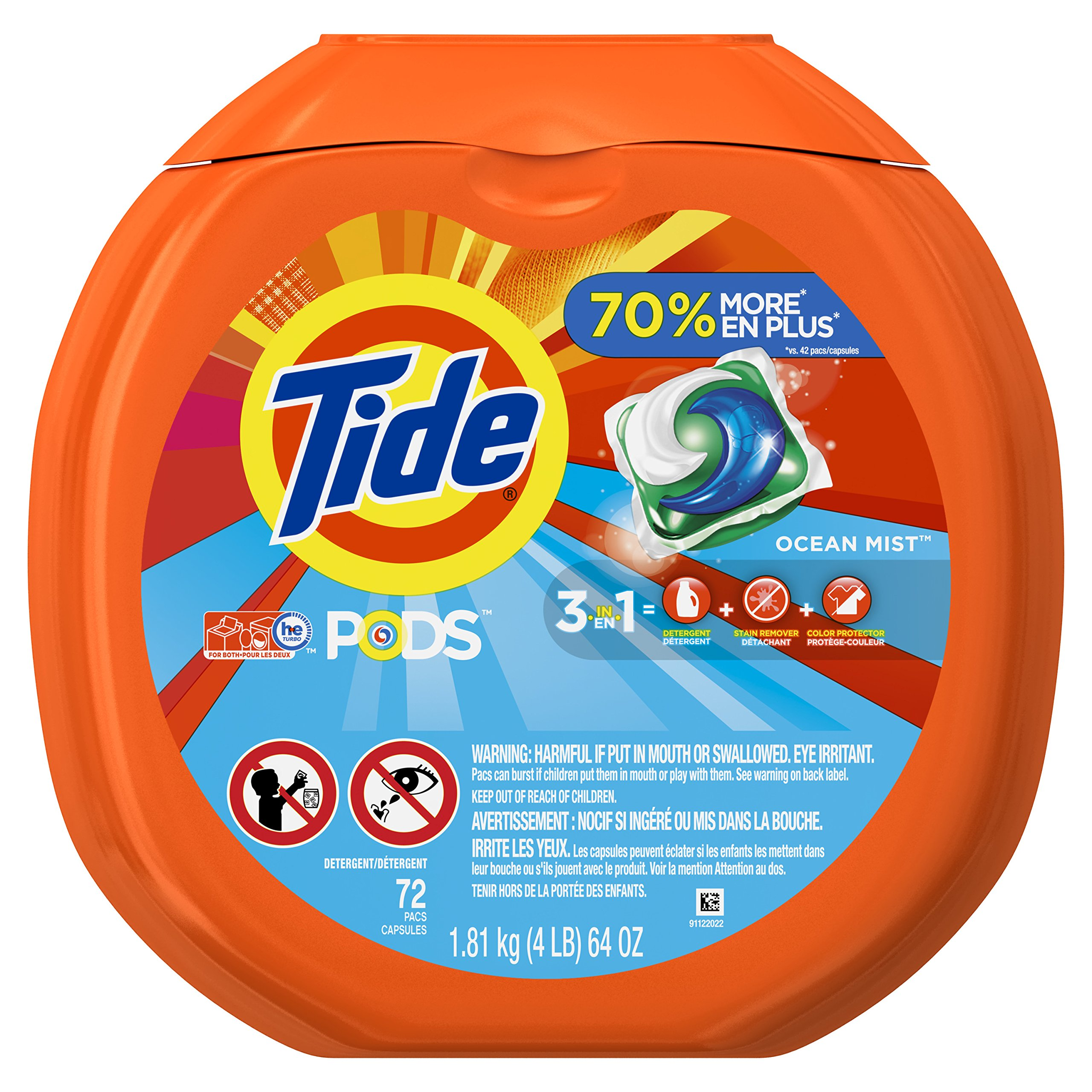 Tide PODS 3 in 1 HE Turbo Laundry Detergent Pacs, Ocean Mist Scent, 72