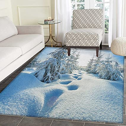 Winter Area Rug Carpet Winter Landscape With Forest And Blue Sky Frosted Trees Footprints Seasonal Nature Living Dining Room Bedroom Hallway Office