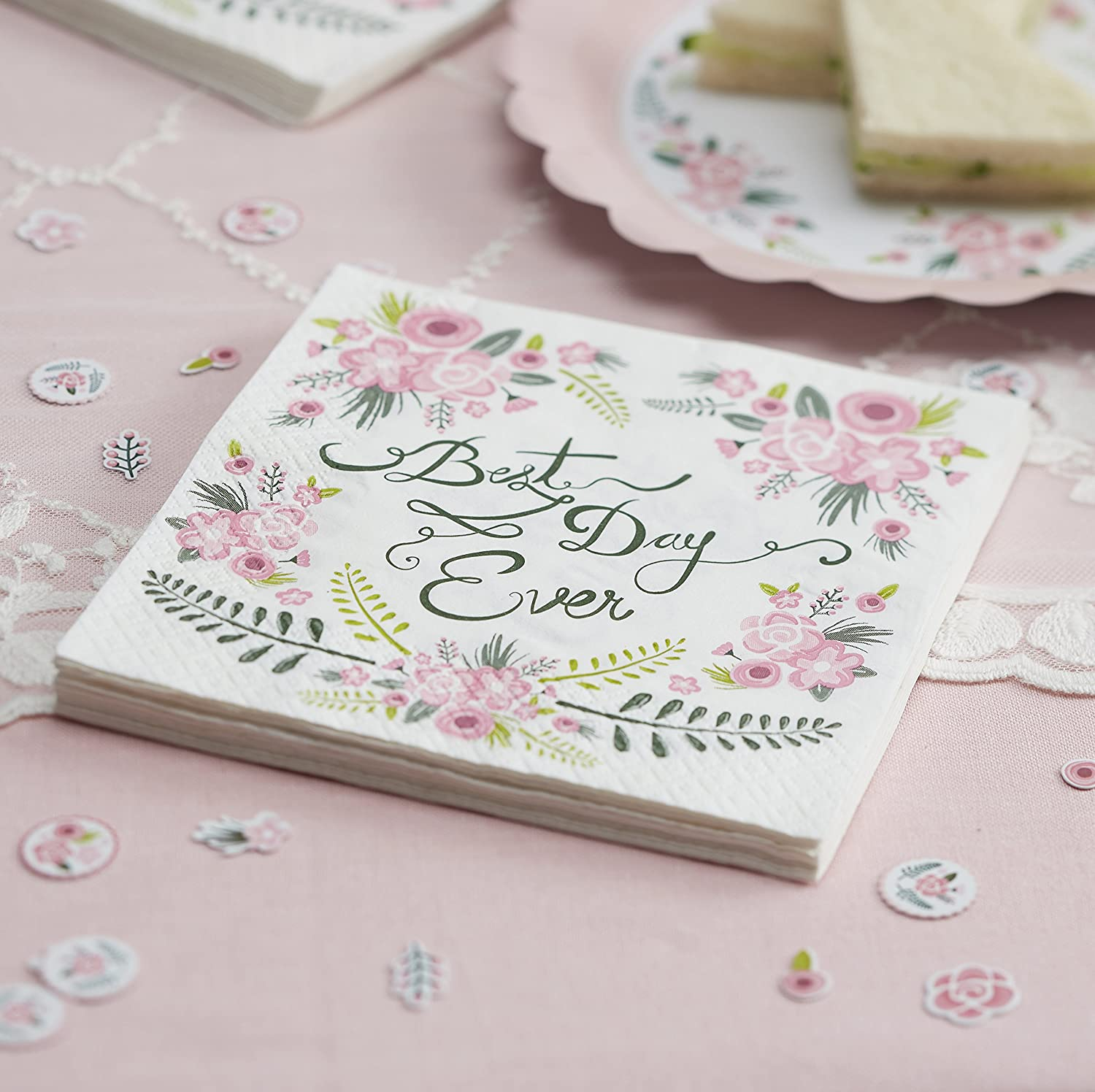 Ginger Ray Best Day Ever Paper Party Napkins Wedding Tableware, 20 Pack