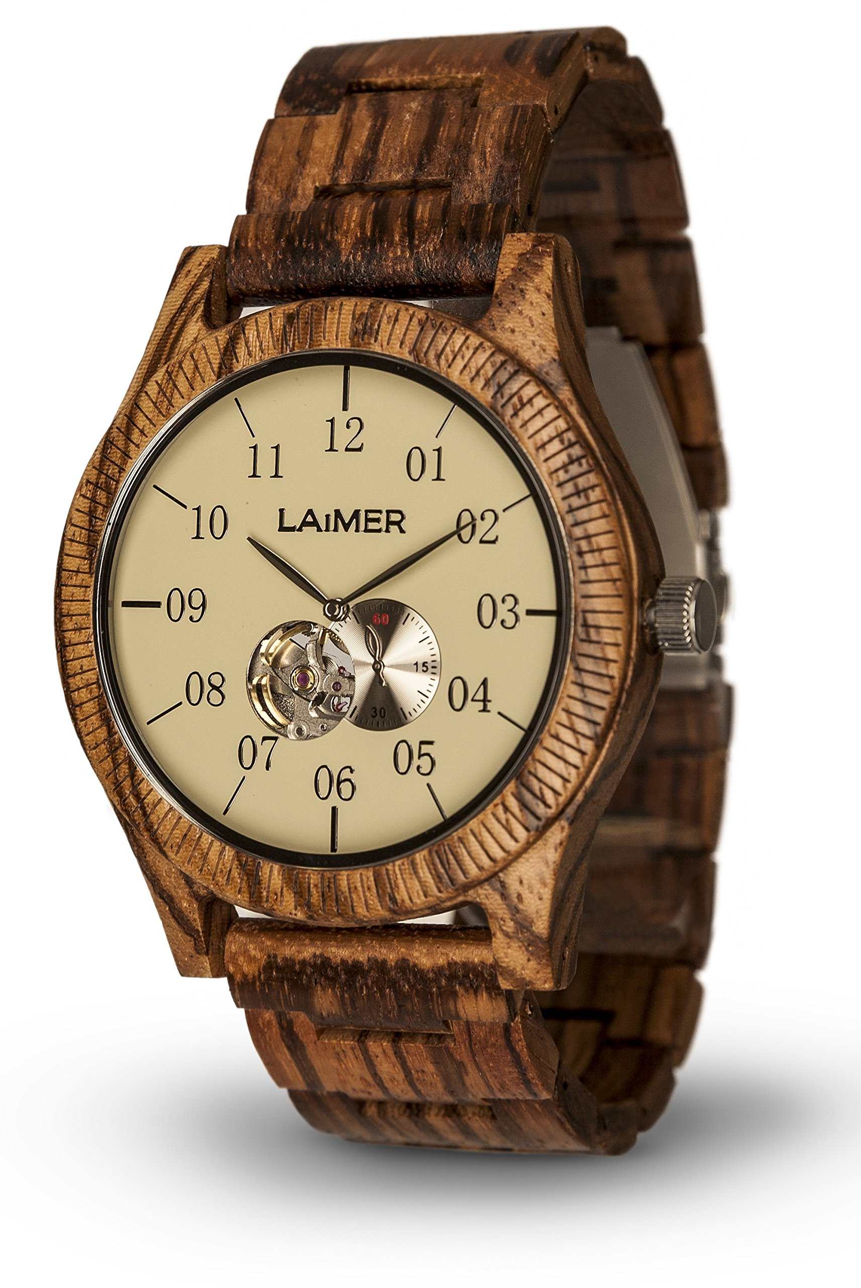 LAiMER Automatic Men's Wooden Watch GRAND EDITION ERIK - Wrist Watch made of natural reclaimed Zebrano Wood - Technology, Nature & Lifestyle