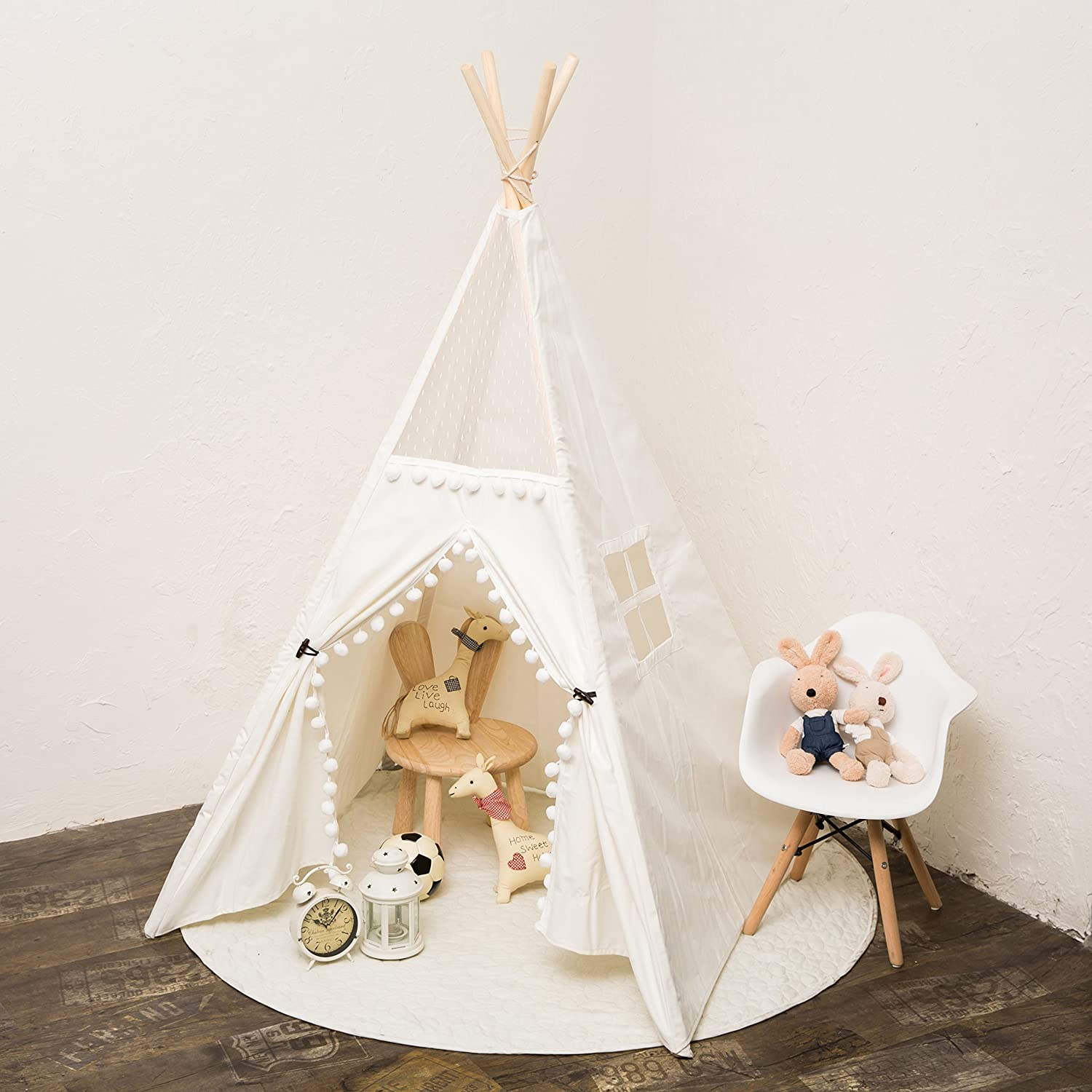 RONG FA Kids Teepee Tent Foldable Teepee Play Tent for Boys and Girls, IndoorOutdoor Cotton Canvas Tent with Lace of High Transmittance(White) (LACE