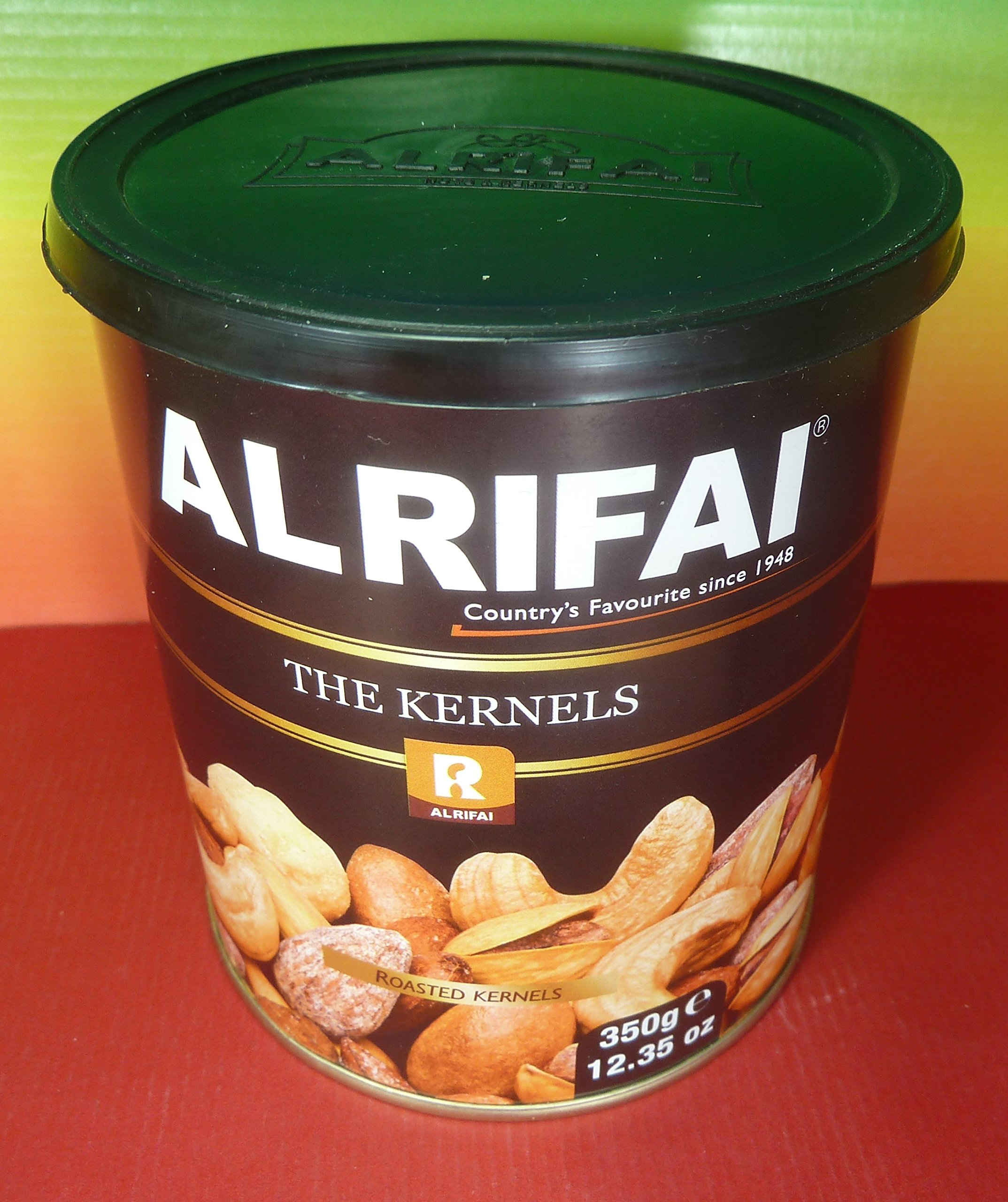 Alrifai THE KERNELS Gourmet Nuts from Lebanon Tin 350g 12.35 OZ,Containing Almonds , Pistachios , Cashews , Hazelnuts, Macadamias ,Salt, Fresh