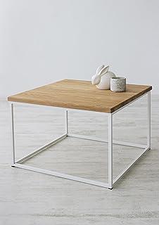 Couchtisch Holz Metall Quadratisch 90x90cm Tischplatte Massivholz