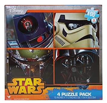 amazon com star wars high res 100 pieces jigsaw puzzles 4 pack 15