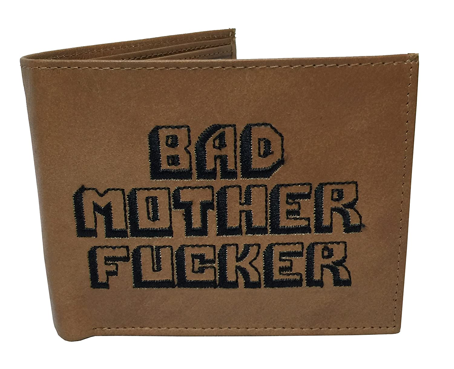 Portefeuille en cuir avec inscription « Bad Mother Fucker », Marron BMF-NAPPA