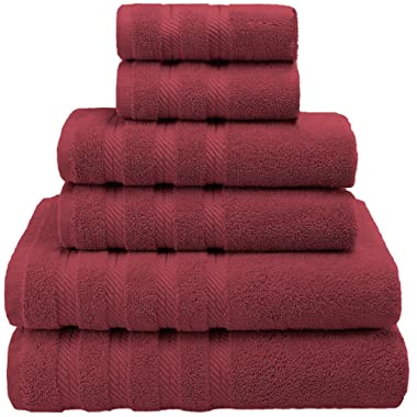Premium, Luxury Hotel & Spa Quality, 6 Piece Kitchen and Bathroom Turkish Towel Set, Cotton for Maximum Softness and Absorbency by American Soft Linen, [Worth $78.95] (Bordeaux)
