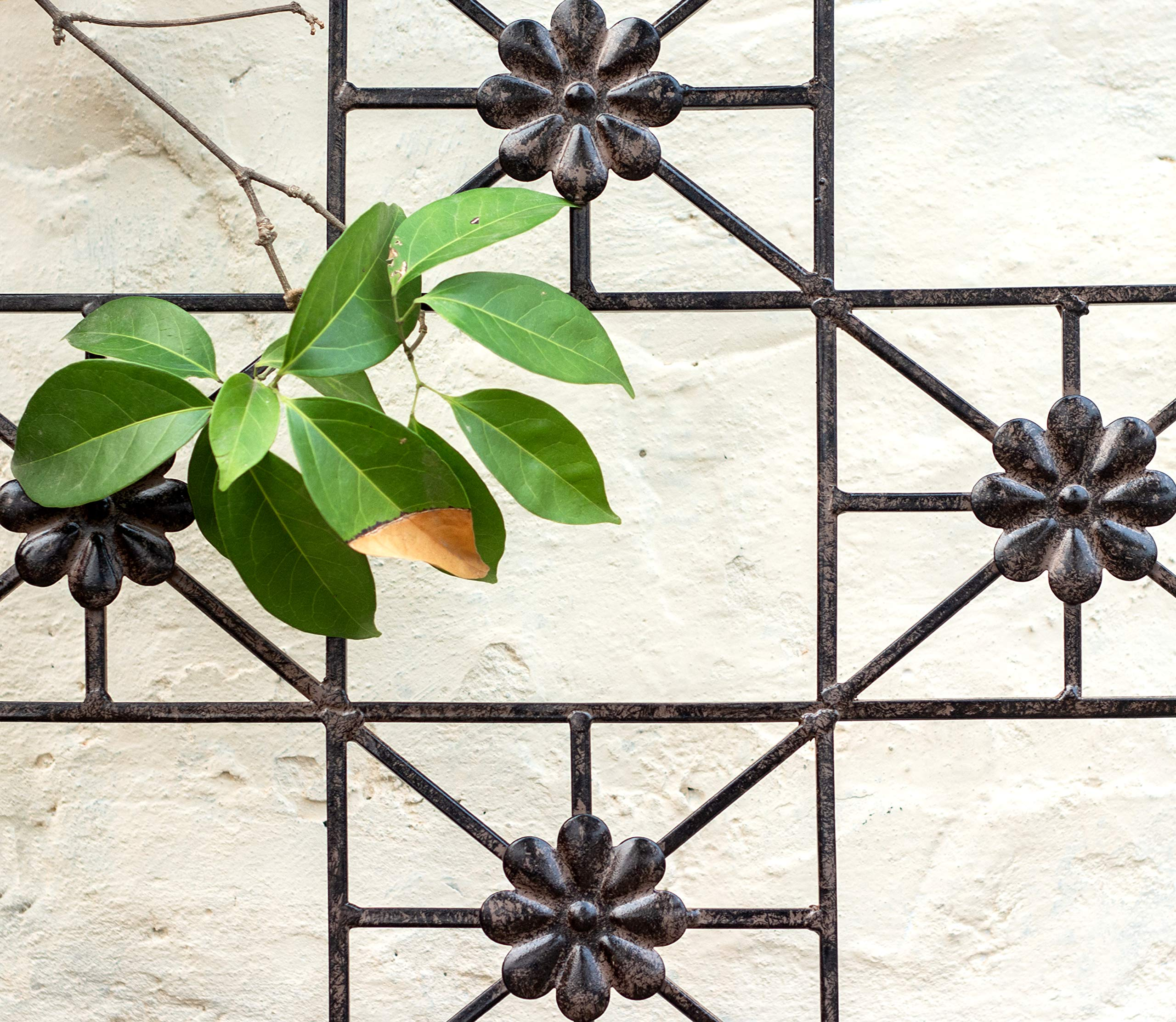 H Potter 5.5 Foot Tall Garden Flower Trellis Wrought Iron Heavy Scroll Metal Decoration Lawn, Patio & Wall Decor Screen for Rose, Clematis, Ivy Patio Deck Wall Art by H Potter (Image #3)