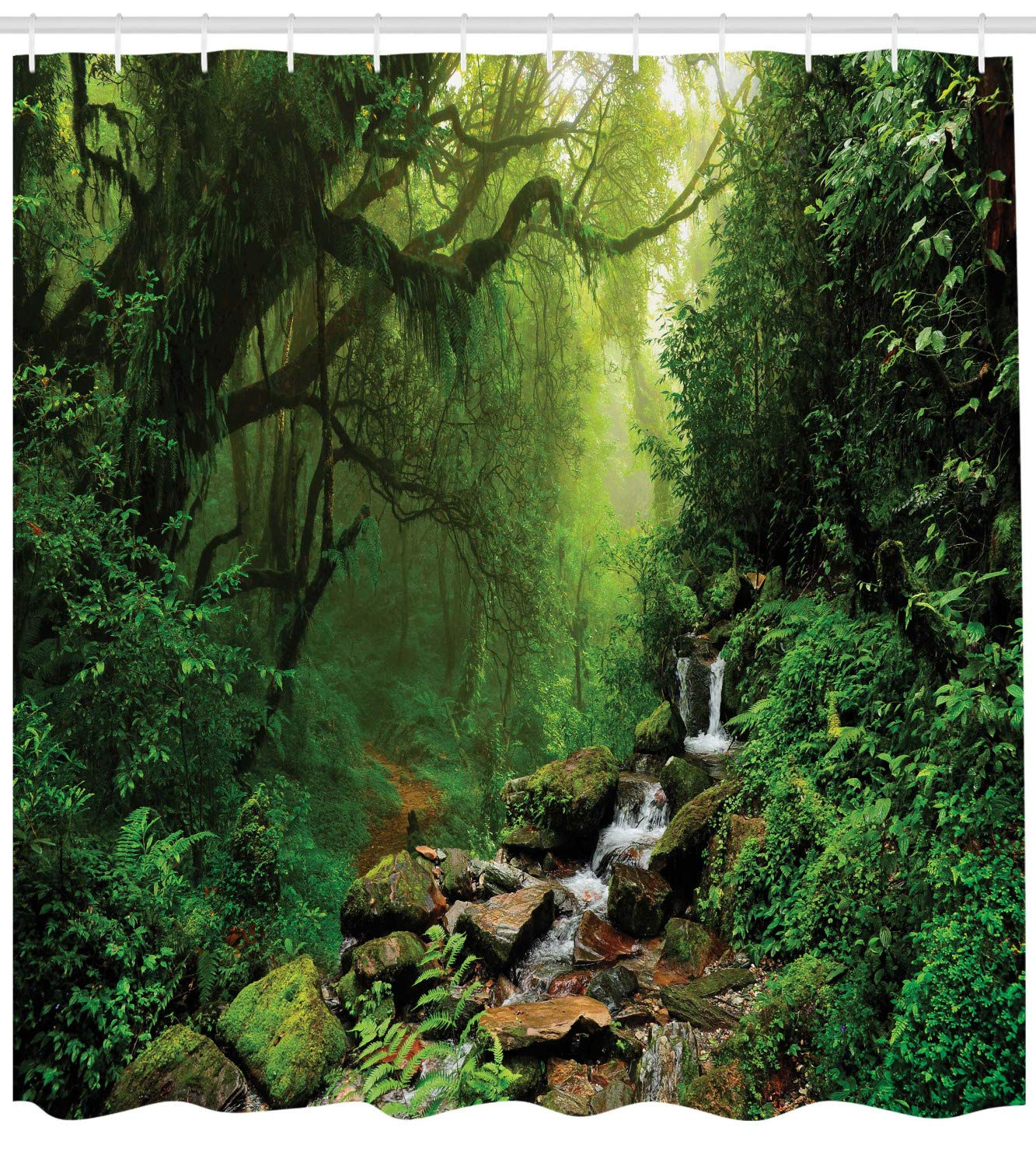 Ambesonne Rainforest Shower Curtain, Forest in Nepal Footpath Wildlife Spring Plant and Stones Moisture Water Print, Cloth Fabric Bathroom Decor Set with Hooks, 75'' Long, Green Brown by Ambesonne
