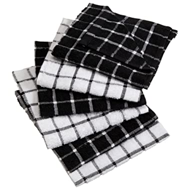 DII Cotton Terry Windowpane Dish Cloths, 12 x 12  Set of 6, Machine Washable and Ultra Absorbent Kitchen Dishcloth-Black