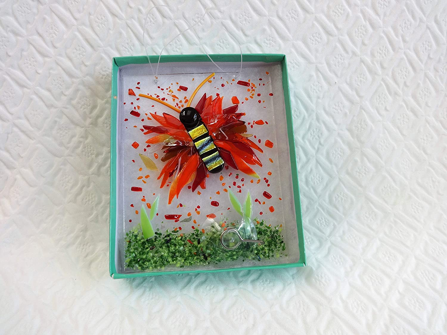 Red And Orange Dichroic Fused Glass Butterfly Sun Catcher Christmas