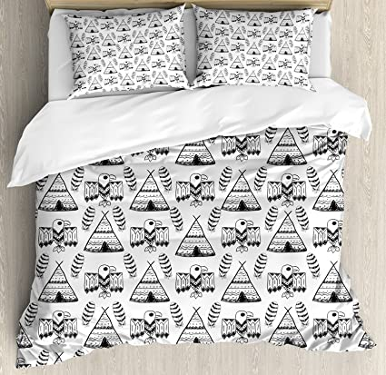 Amazon Com Ambesonne Native American Duvet Cover Set Queen Size