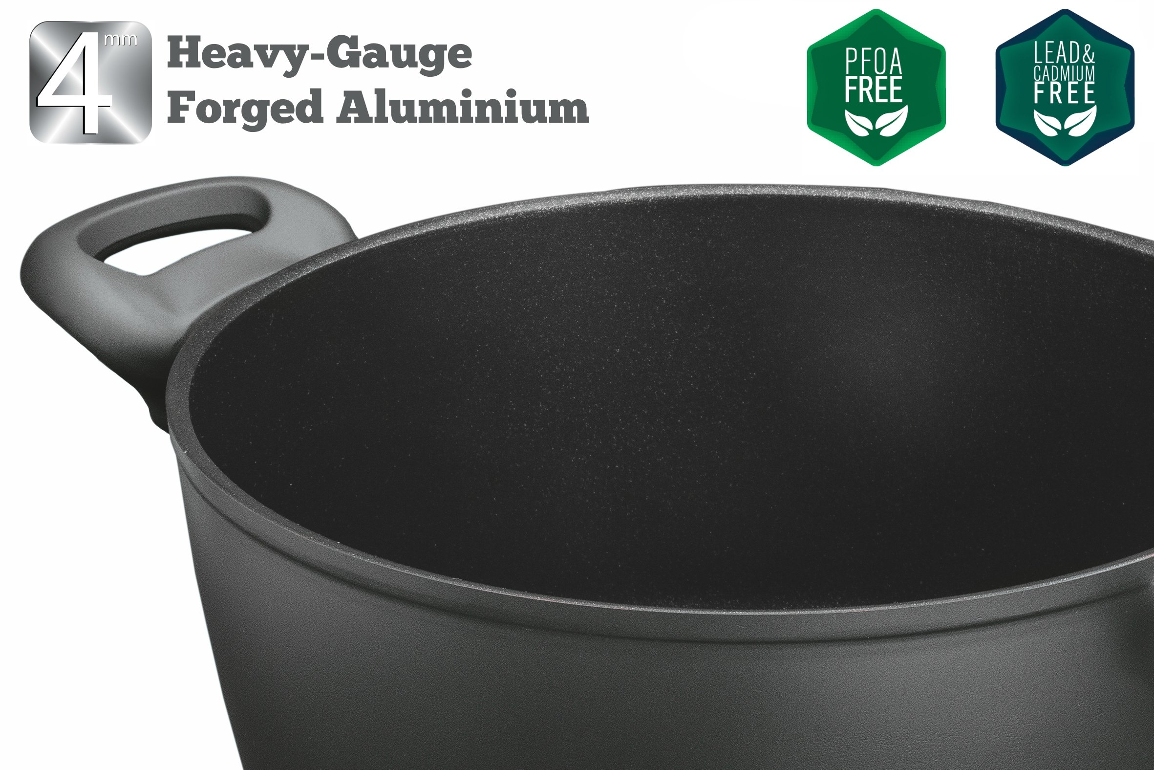 Saflon Titanium Nonstick 8-Quart Stock Pot with Tempered Glass Lid, 4mm Forged Aluminum with PFOA Free Coating from England by SAFLON (Image #3)